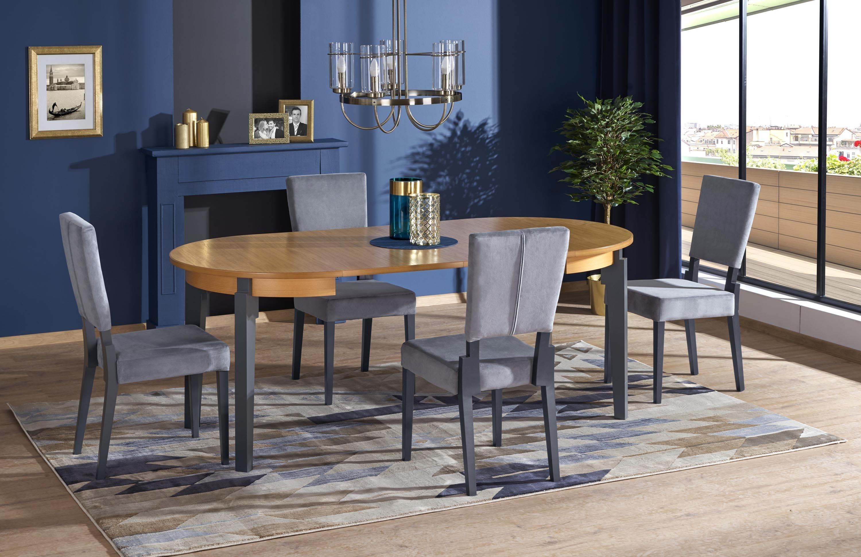 Set masa extensibila din MDF si lemn de fag Sorbus Stejar / Graphite + 4 scaune tapitate Sorbus Gri / Grafit, L100-200xl100xH77 cm imagine