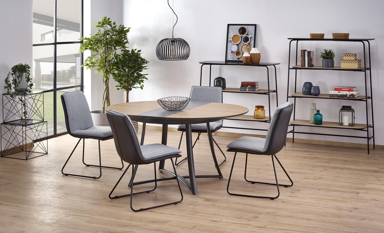 Set masa extensibila din MDF si metal Moretti Stejar / Negru + 4 scaune K326 Gri, Ø118-148xH76 cm imagine