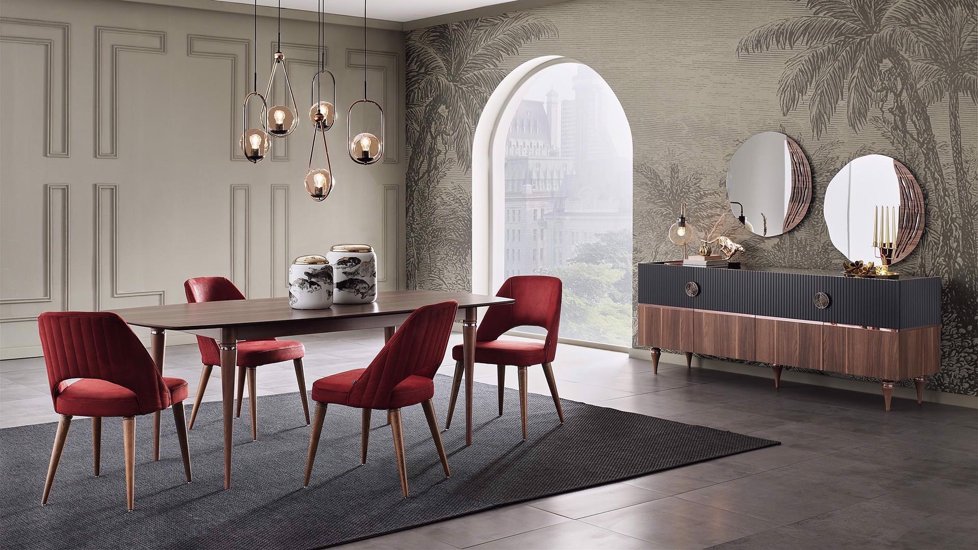 Set masa extensibila din pal + 4 scaune tapitate cu stofa, cu picioare din lemn Montana Nuc / Bordeaux, L170-210xl98xH76,8 cm imagine