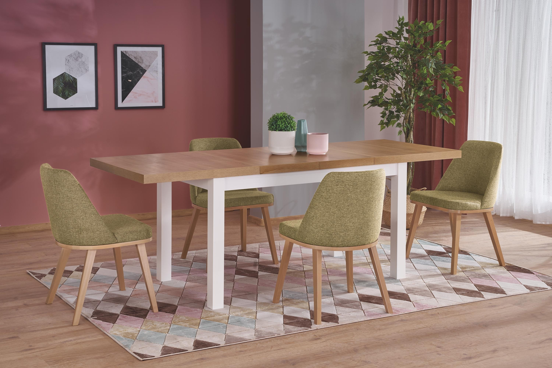 Set masa extensibila din pal si MDF Tiago 2 Stejar / Alb + 4 scaune tapitate Pueblo Verde Olive / Stejar, L140-220xl80xH76 cm poza
