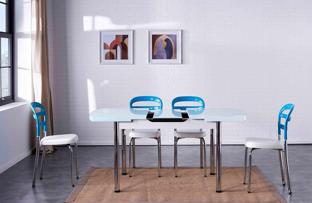 Set masa extensibila din pal si metal + 4 scaune cu sezut tapitat cu piele ecologica, cu picioare metalice Noa Turcoaz / Alb, L140-180xl75xH80 cm imagine