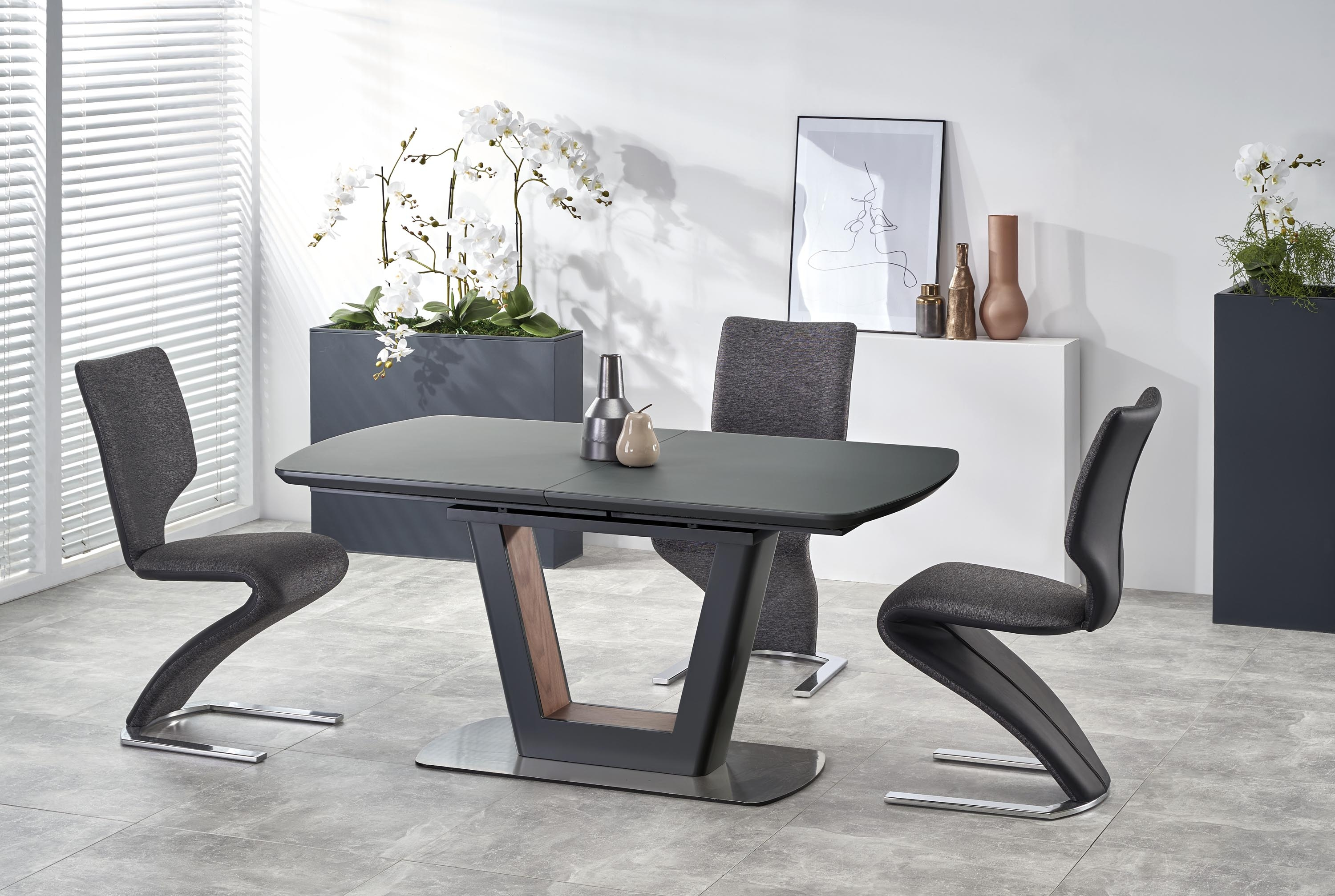 Masa extensibila din sticla si MDF Bilotti Anthracite / Walnut, L160-200xl90xH76 cm imagine