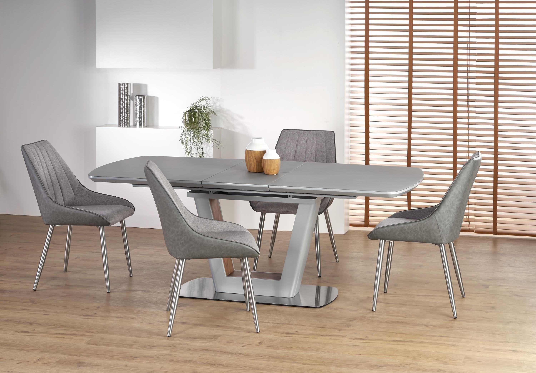 Set masa extensibila din sticla si MDF Bilotti Gri deschis + 4 scaune tapitate K311, L160-200xl90xH76 cm imagine