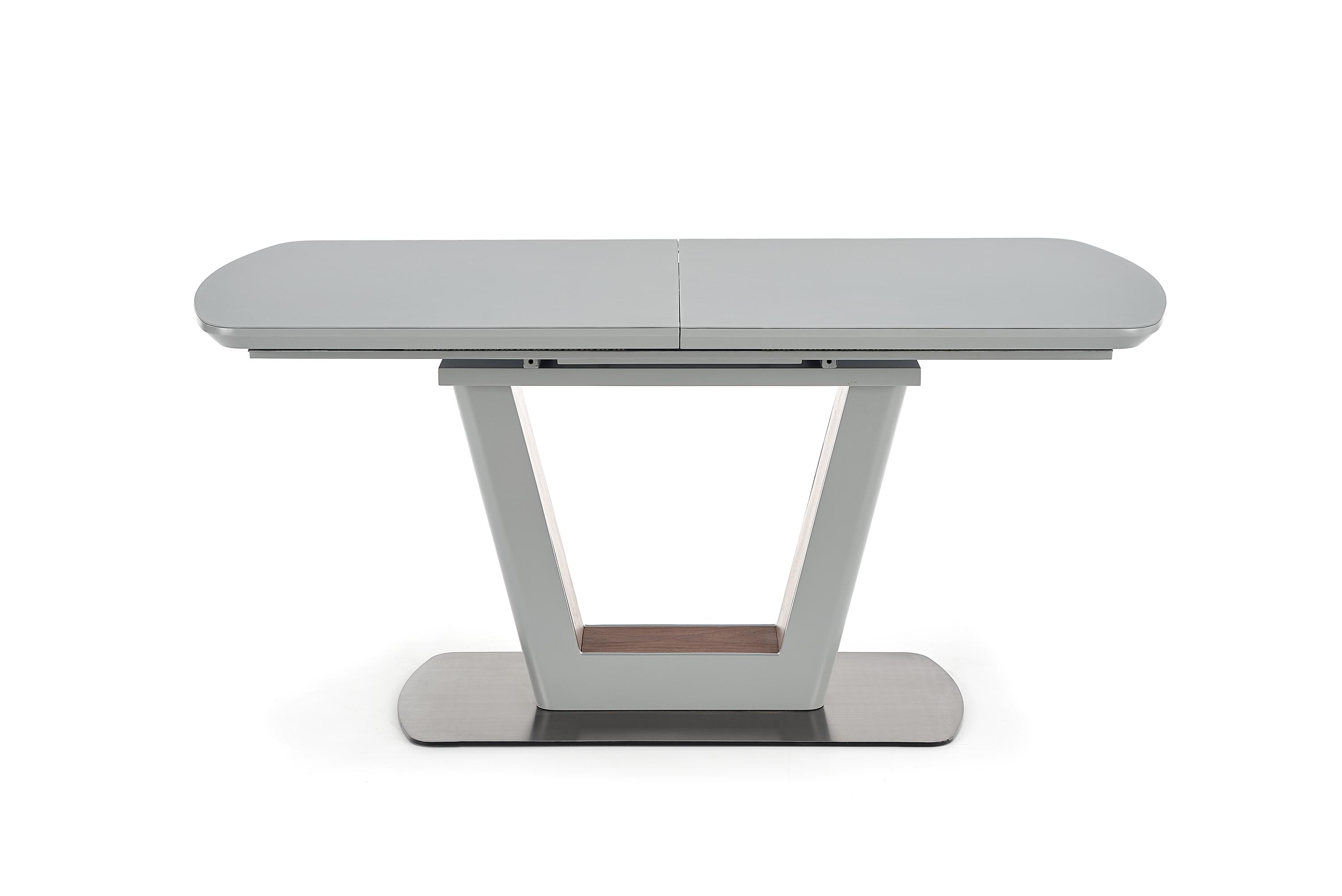 Masa extensibila din sticla si MDF Bilotti Light Grey / Walnut, L160-200xl90xH76 cm imagine