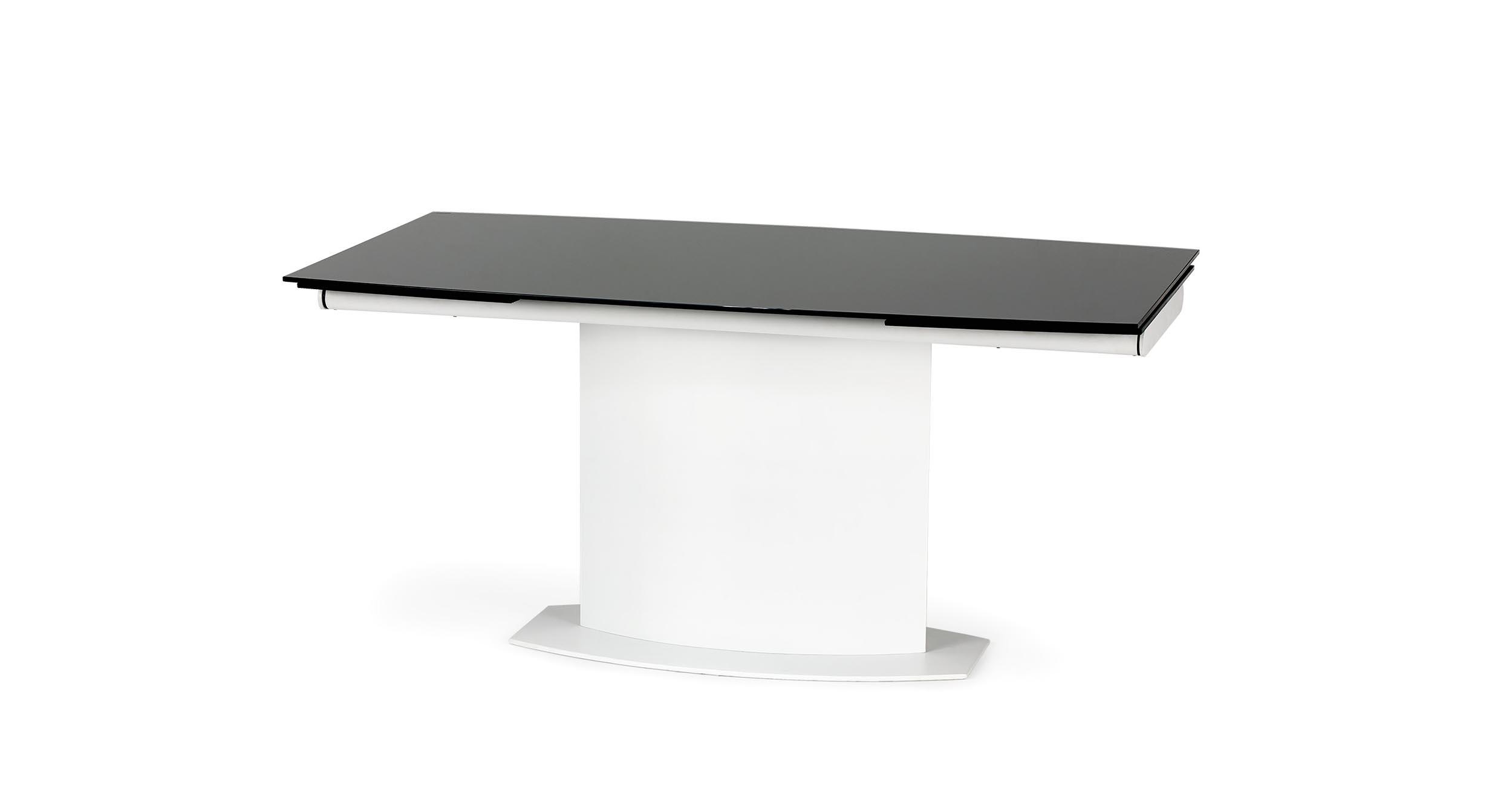 Masa extensibila din sticla si metal Anderson Black / White, L160-250xl90xH76 cm vivre.ro