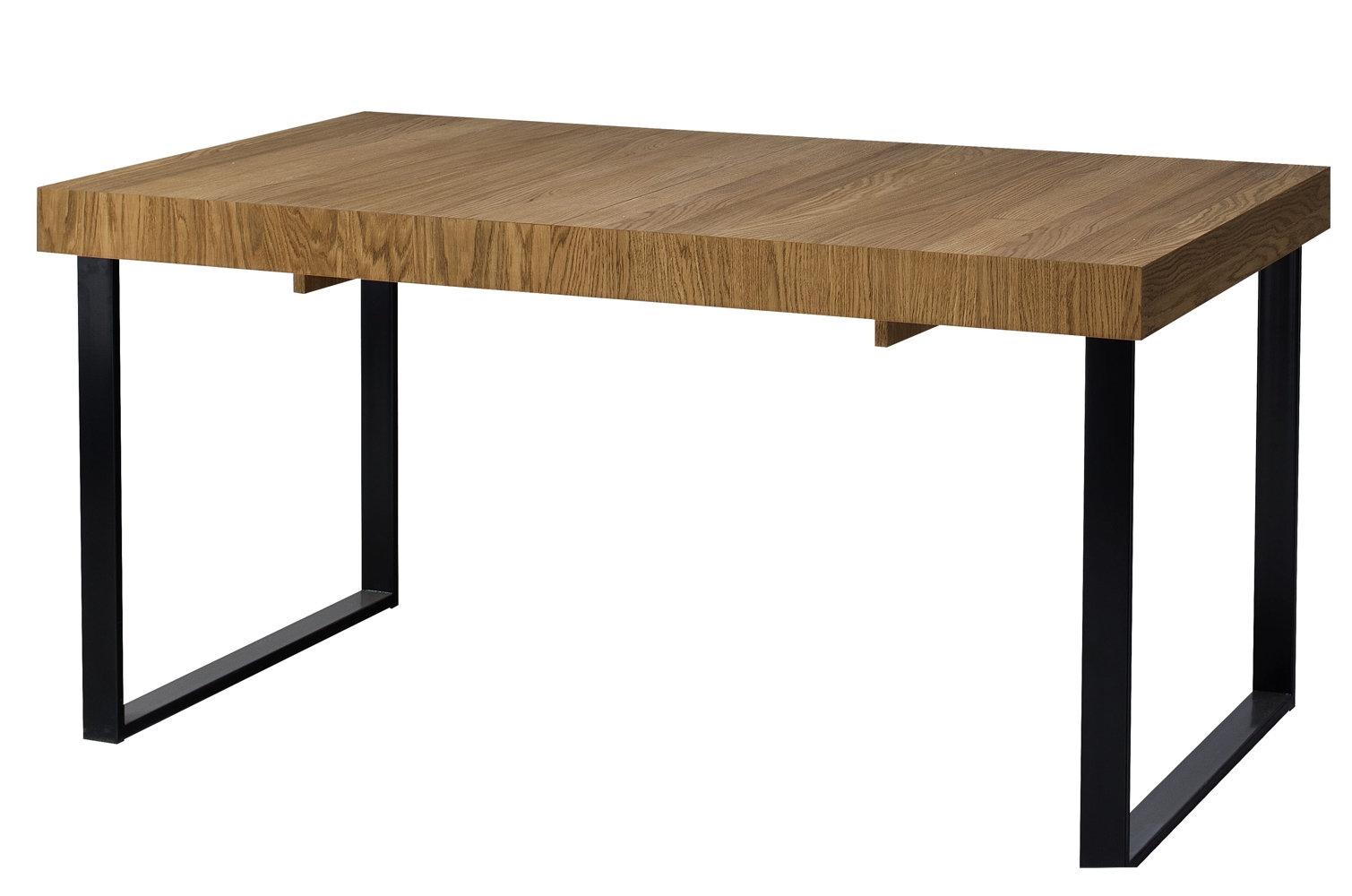 Masa extensibila din lemn, furnir si metal Mosaic 40 Stejar / Negru, L160-220xl90xH78 cm imagine