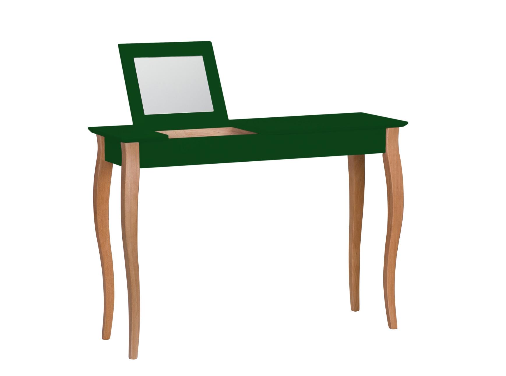 Masa machiaj cu oglinda din lemn de fag si MDF Lillo Large Dark Green / Beech L105xl35xH74 cm