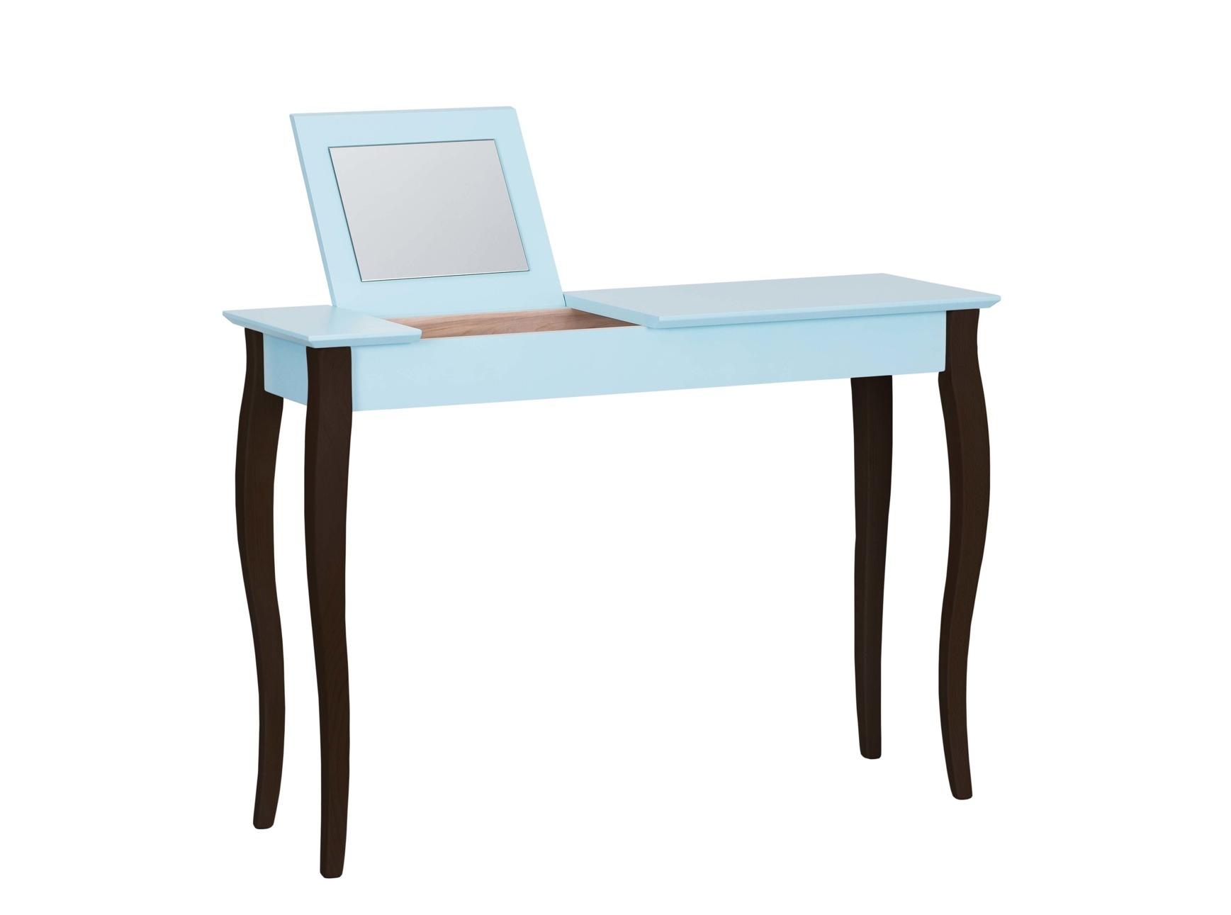 Masa machiaj cu oglinda din lemn de fag si MDF Lillo Large Light Turquoise / Black L105xl35xH74 cm
