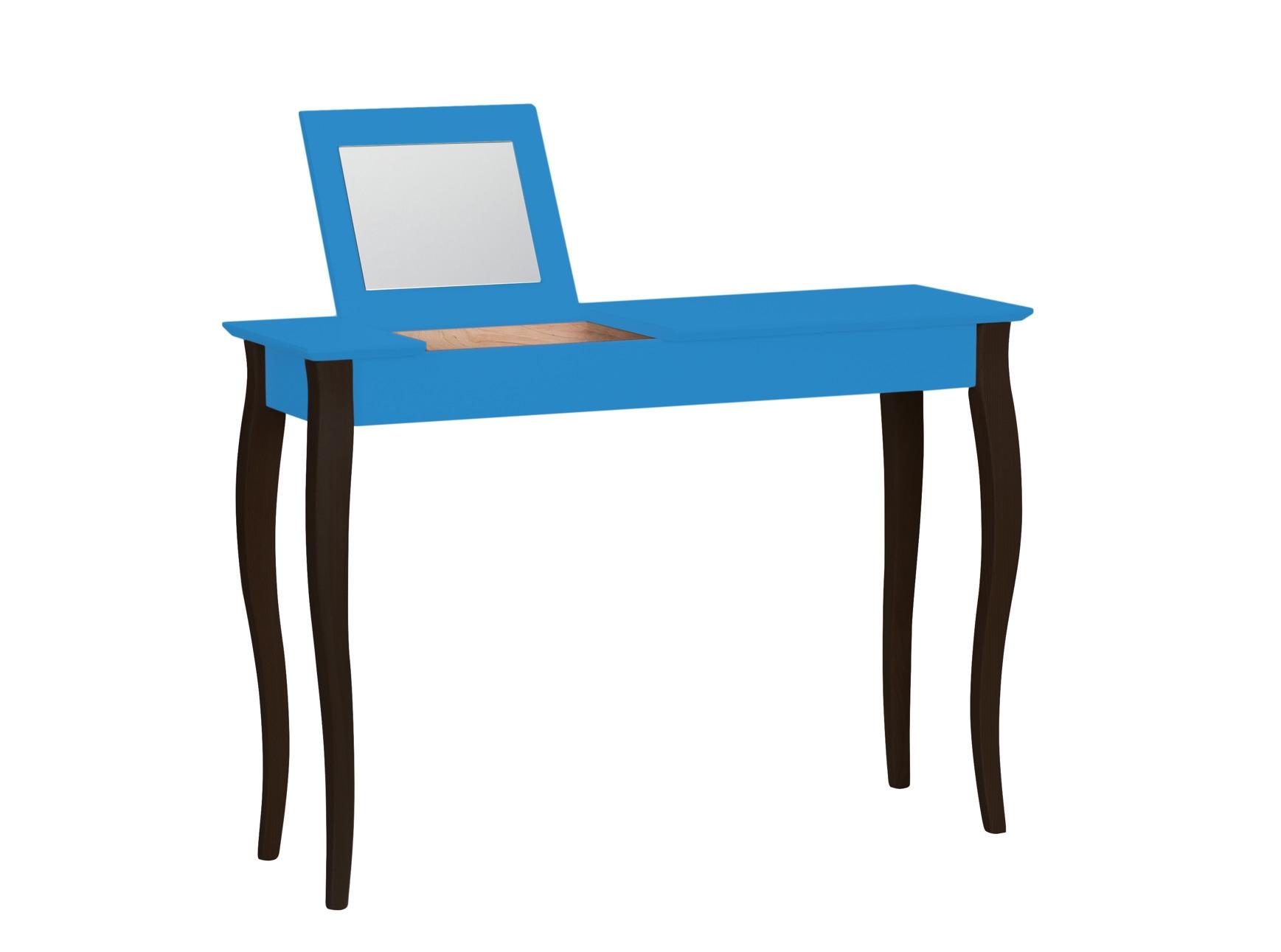 Masa machiaj cu oglinda din lemn de fag si MDF Lillo Large Sky Blue / Black L105xl35xH74 cm