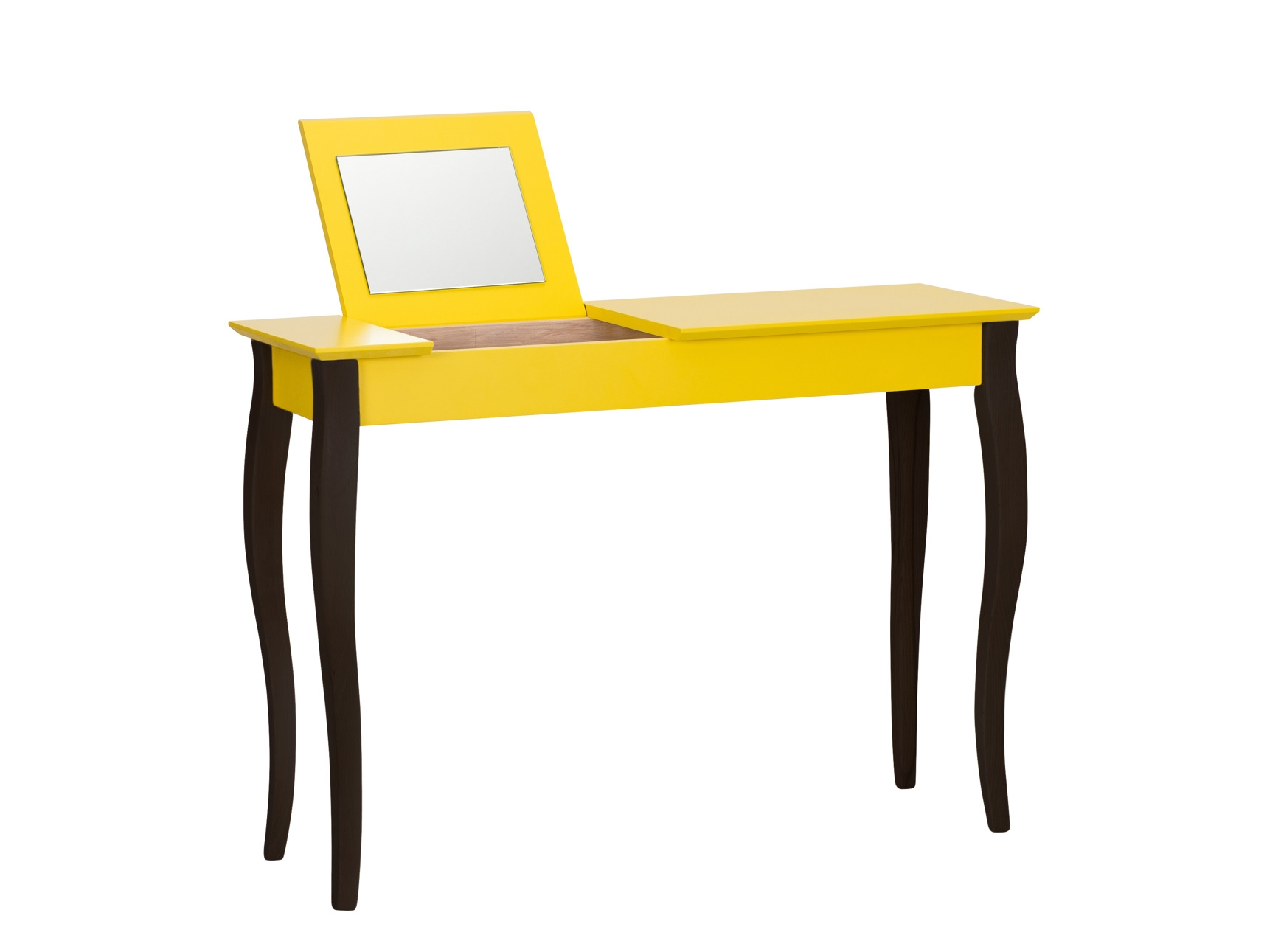 Masa machiaj cu oglinda din lemn de fag si MDF Lillo Large Yellow / Black L105xl35xH74 cm