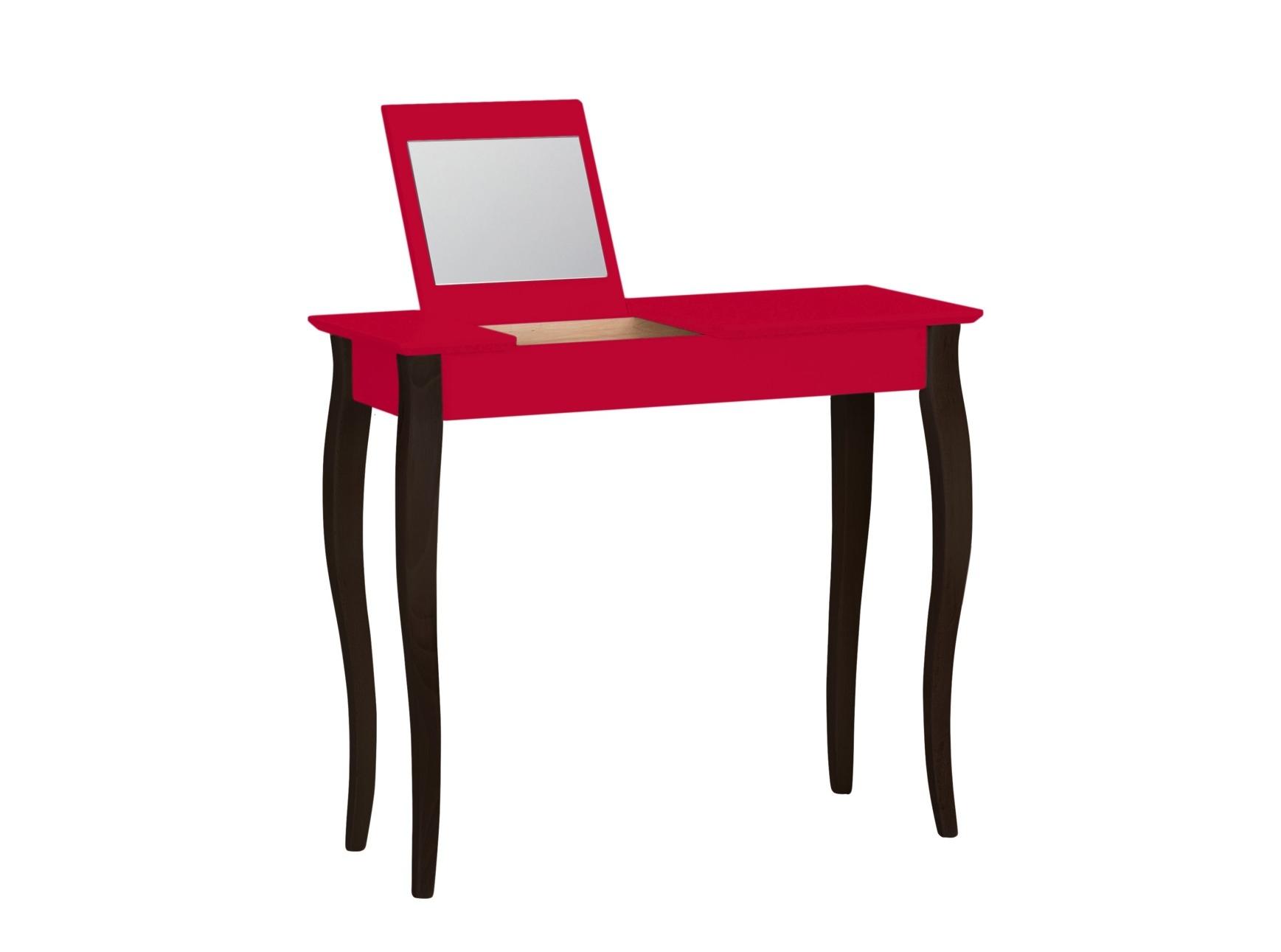 Masa machiaj cu oglinda din lemn de fag si MDF Lillo Medium Red / Black L85xl35xH74 cm