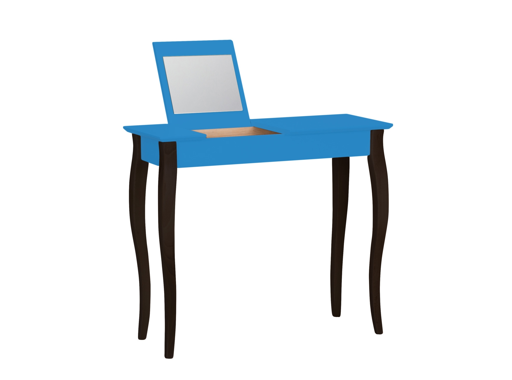 Masa machiaj cu oglinda din lemn de fag si MDF Lillo Medium Sky Blue / Black L85xl35xH74 cm