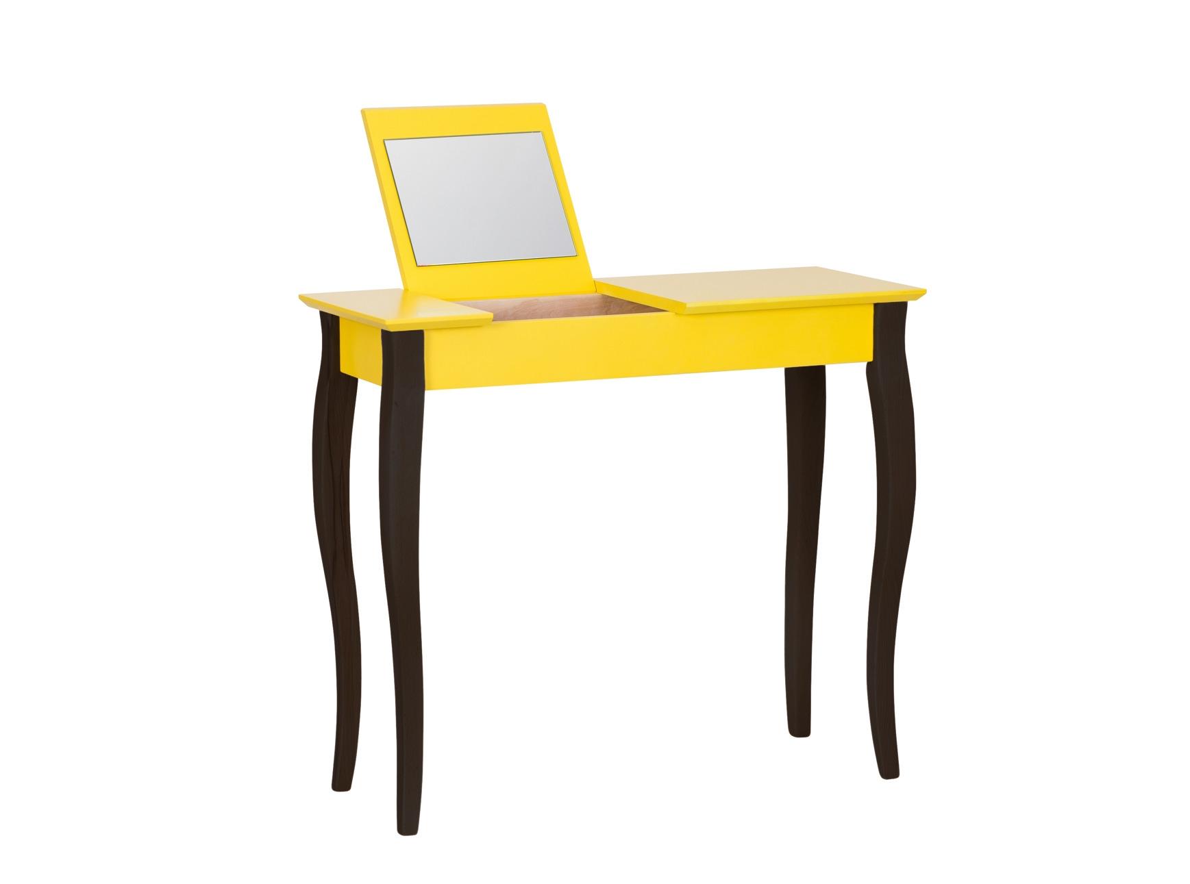 Masa machiaj cu oglinda din lemn de fag si MDF Lillo Medium Yellow / Black L85xl35xH74 cm