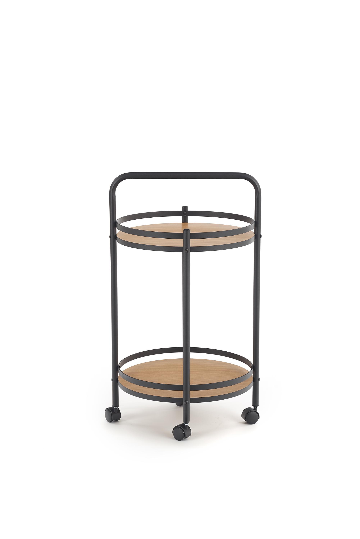 Masa minibar mobila, din MDF si metal BAR-11 Negru / Natural, Ø44xH75 cm