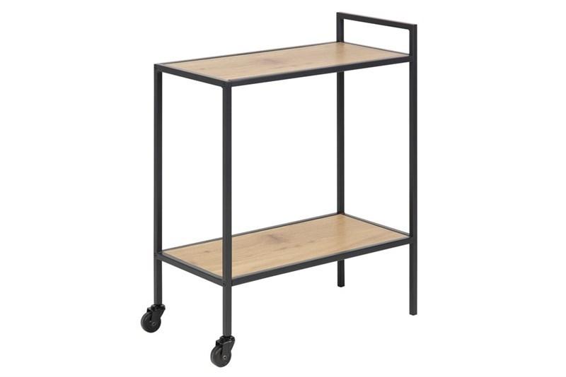 Masa minibar mobila din MDF si metal Seaford Oak / Black L60xl30xH75 cm