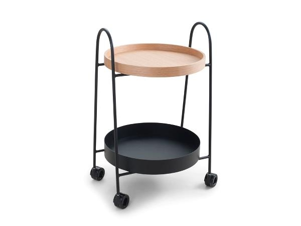 Masa minibar mobila, din metal si lemn, Nuance 469650 Negru, L48xl45xH76 cm, Zone Denmark din categoria Mese