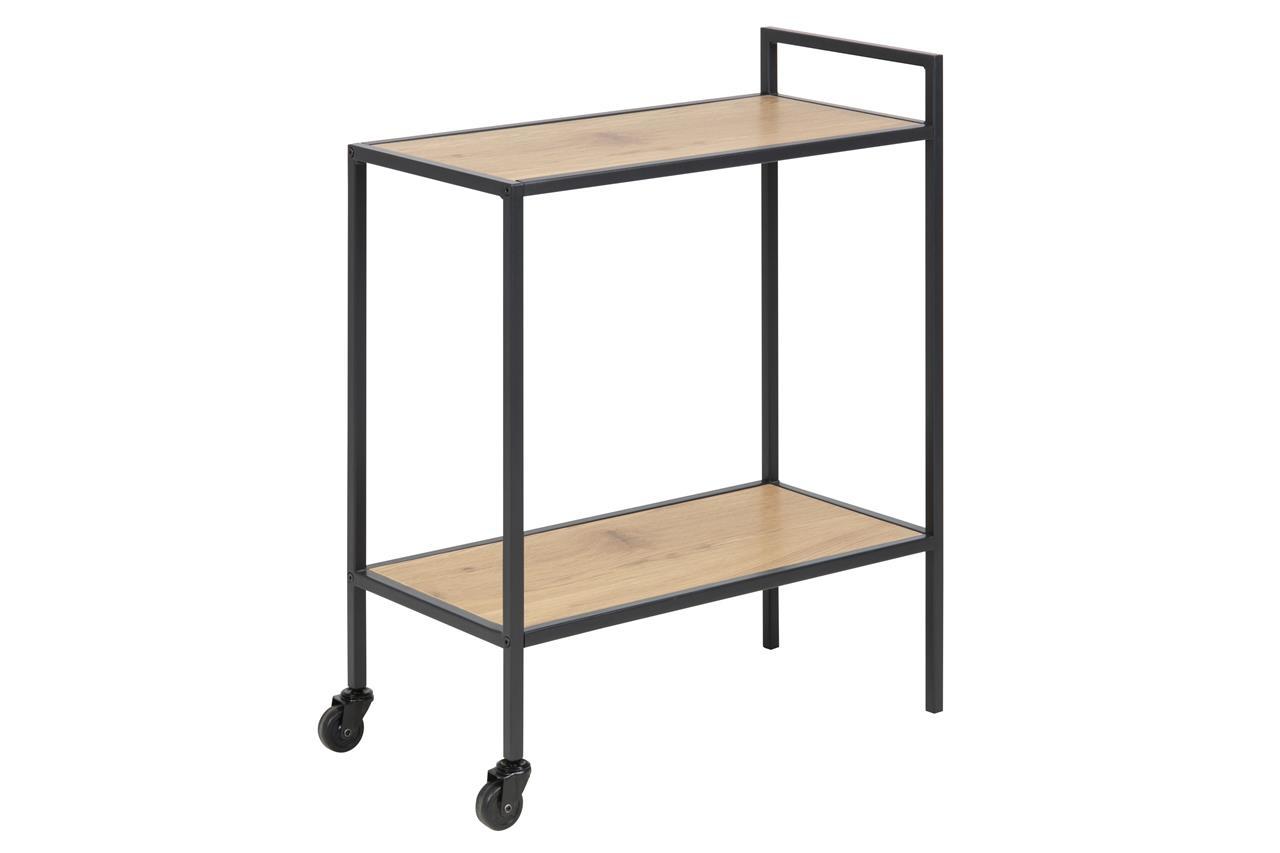 Masa Minibar Mobila Din Pal Si Metal Seaford Stejar / Negru, L60xl30xh75 Cm