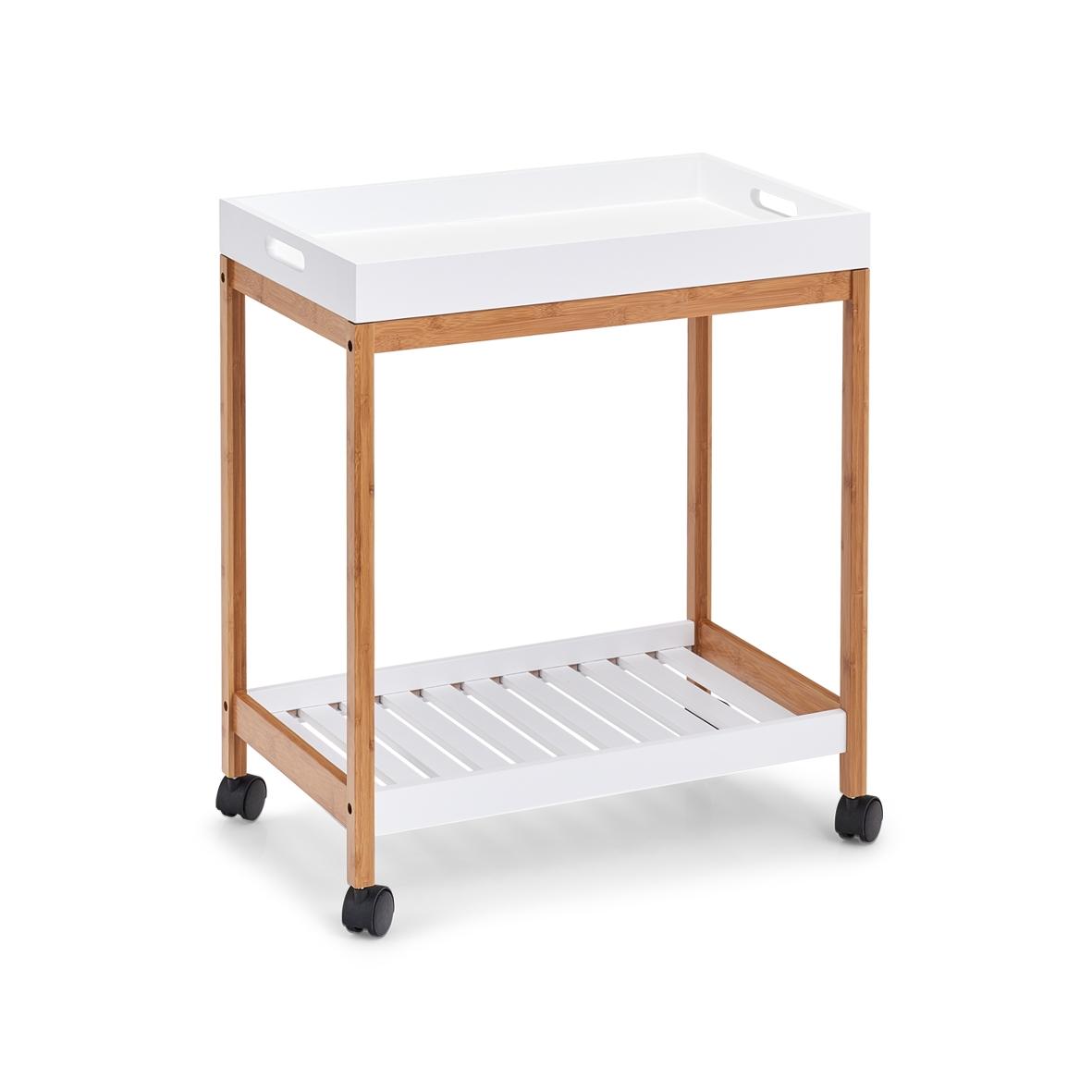 Masa minibar mobila Tray, Bamboo MDF Alb / Natural, L55xl34xH62 cm imagine