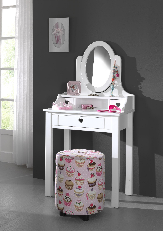 Masuta de toaleta din lemn de pin si MDF, cu oglinda si 3 sertare, pentru fete Amori Alb, L70xl40xH136 cm imagine
