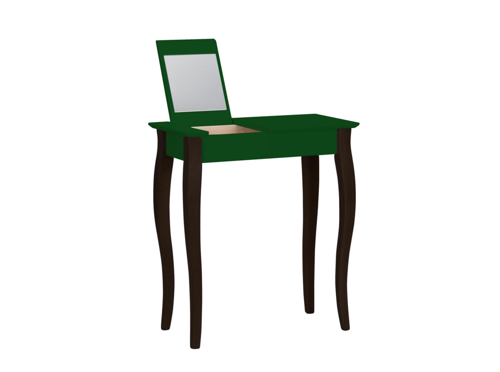 Masuta machiaj cu oglinda din lemn de fag si MDF Lillo Small Dark Green / Black L65xl35xH74 cm