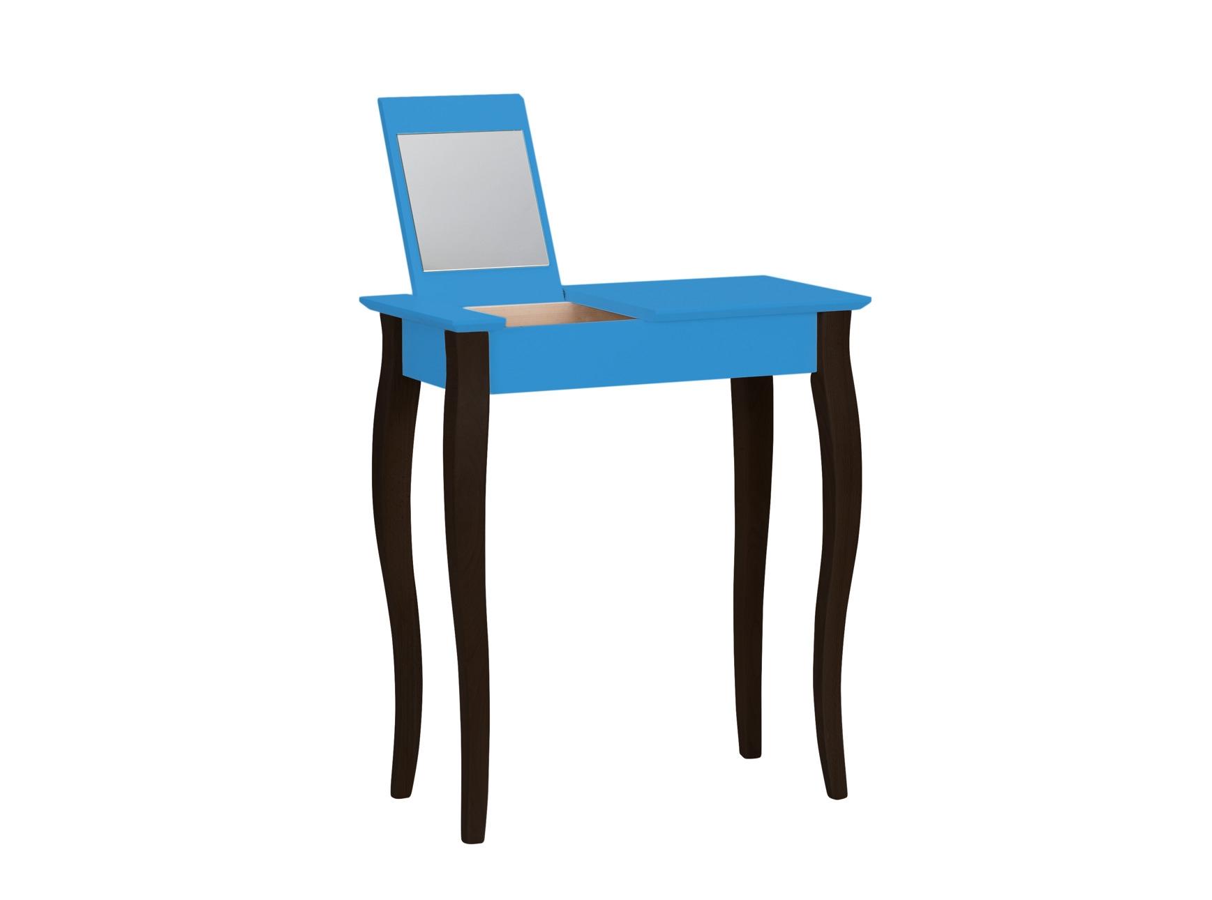 Masuta machiaj cu oglinda din lemn de fag si MDF Lillo Small Sky Blue / Black L65xl35xH74 cm