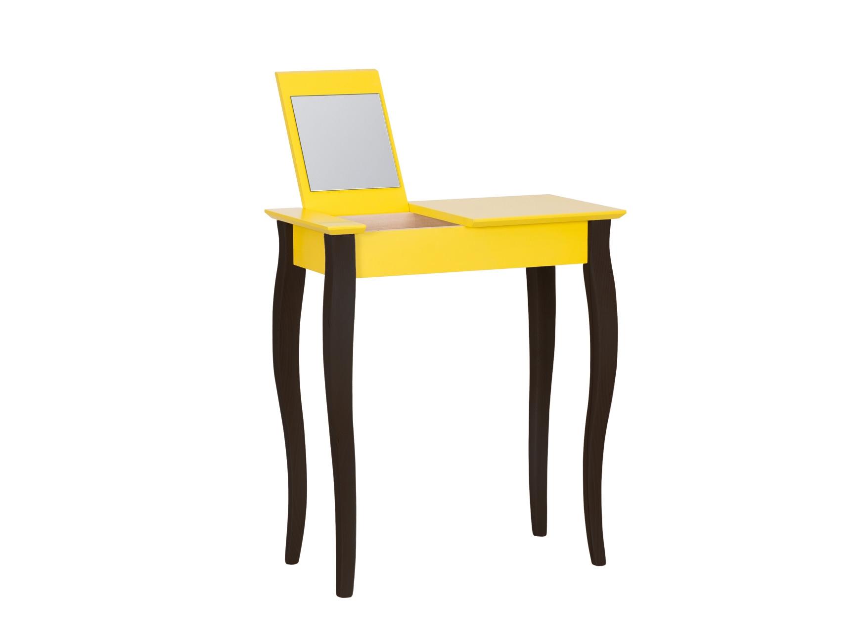 Masuta machiaj cu oglinda din lemn de fag si MDF Lillo Small Yellow / Black L65xl35xH74 cm