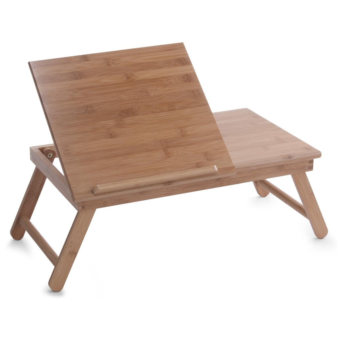 Masuta pentru servire pat, cu suport de carte, Natural Bamboo, L55xl33xH21,5 cm poza