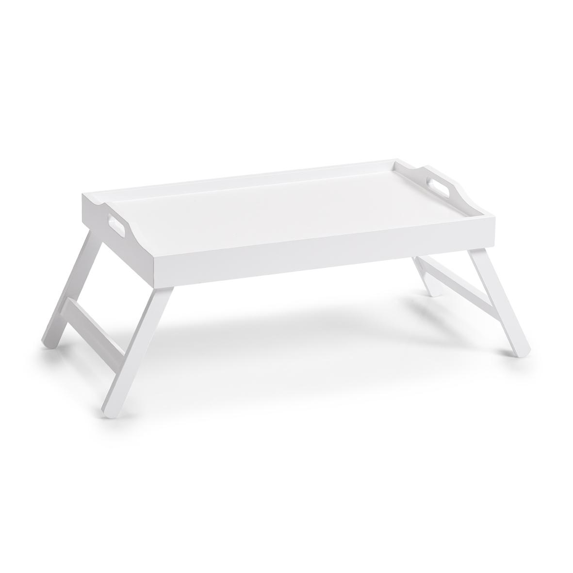 Masuta pliabila servire pat, MDF White, L56,5xl35,5xH27 cm imagine