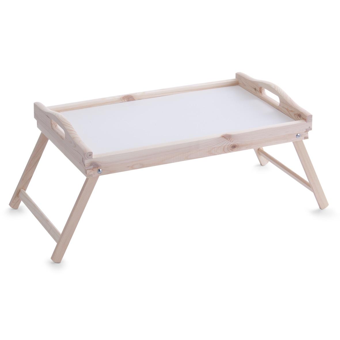Masuta pliabila servire pat, Natural, din lemn de pin, L50xl30xH24,5 cm poza