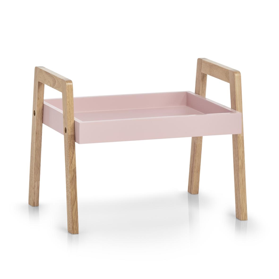 Masuta servire pat, din MDF si lemn Wood Roz / Natural, L40xl30,5xH32,5 cm imagine