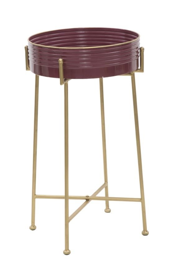 Masuta suport telefon din metal si sticla Glam Bordeaux, Ø 36xH60 cm