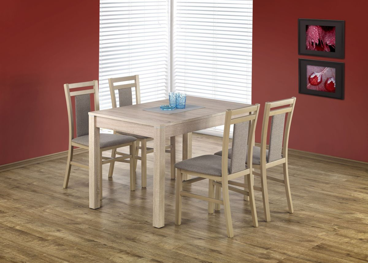 Set masa extensibila din pal si MDF Maurycy Sonoma Oak + 4 scaune Hubert 8 Grey / Sonoma Oak, L118-158xl75xH76 cm imagine