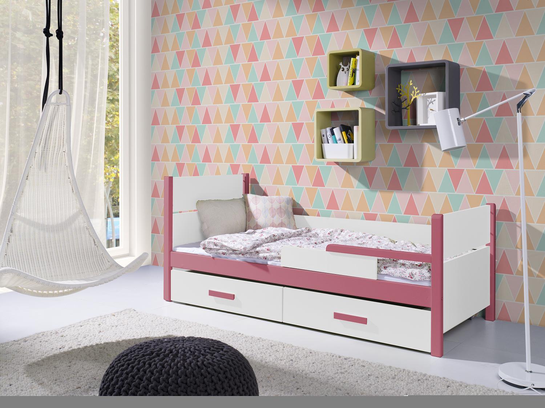 Pat din lemn de pin si pal, cu 2 sertare pentru copii Aurora Roz Acril / Alb, 200 x 90 cm