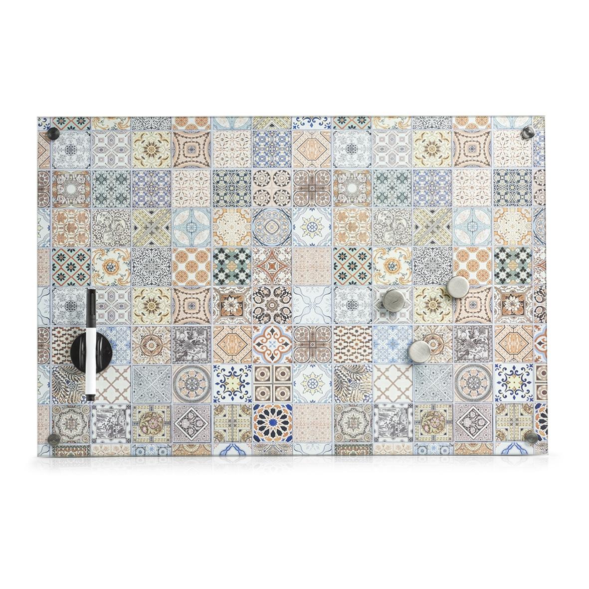 Memo Board din sticla cu 4 accesorii, Mosaic Multicolor, L60xl40 cm imagine