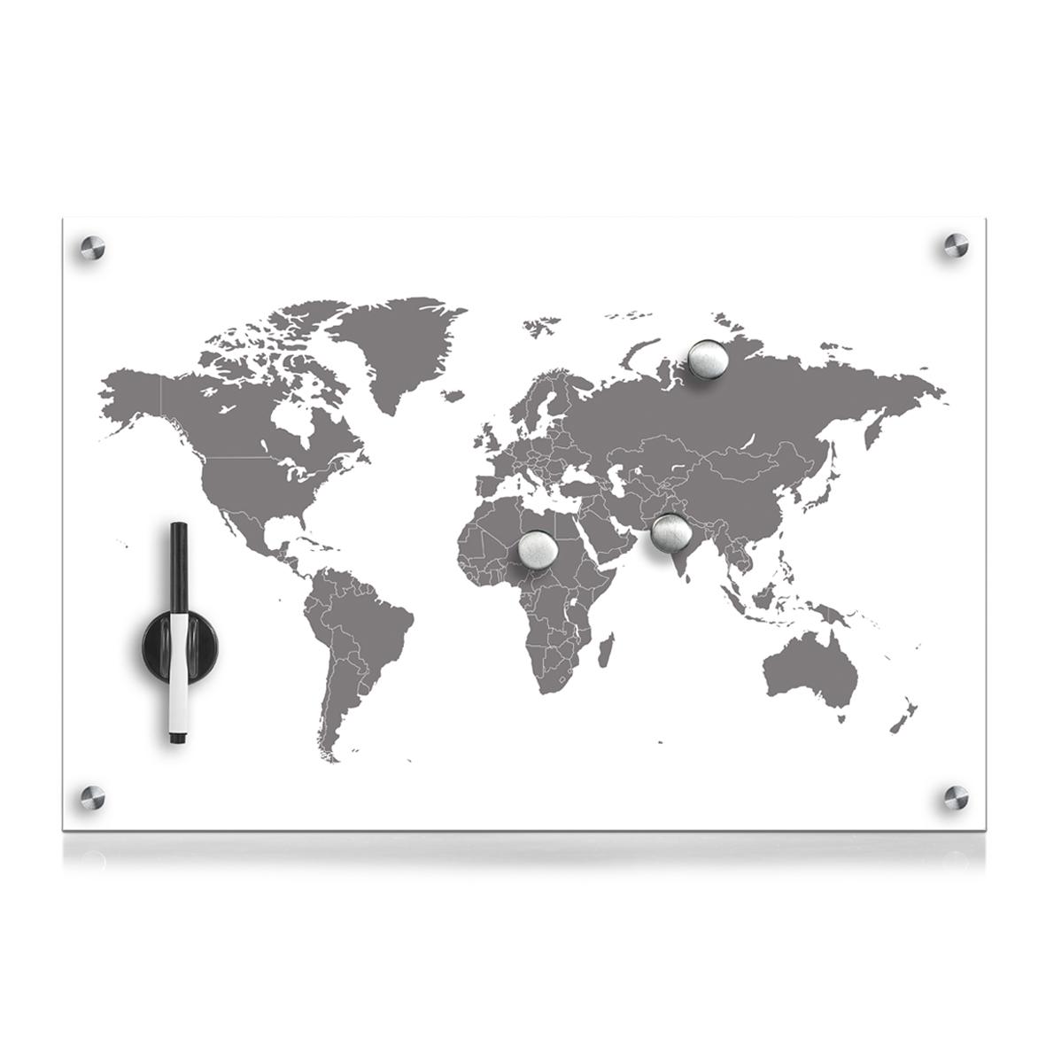 Memo Board din sticla cu 4 accesorii, Worldmap Alb, L60xl40 cm imagine