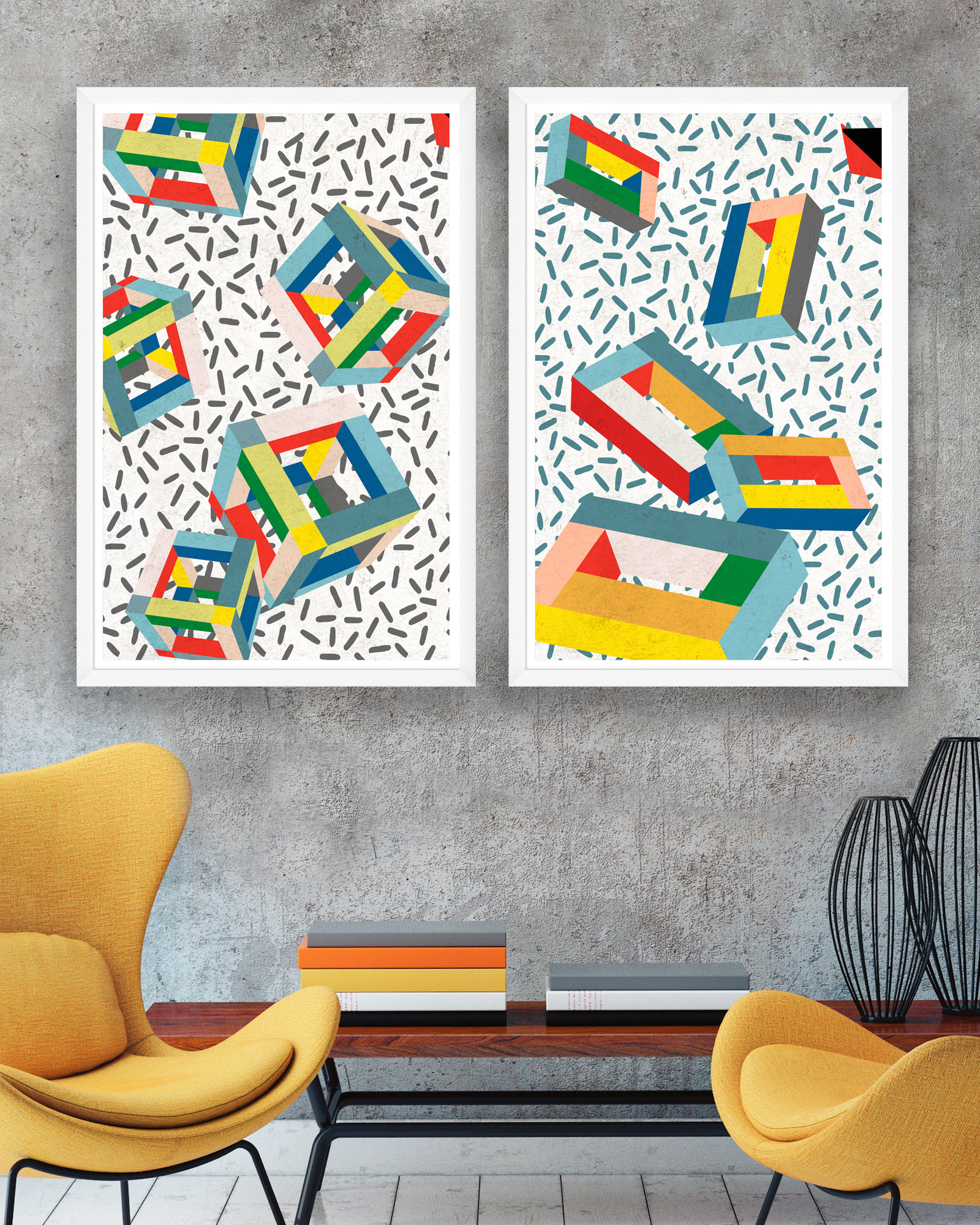 Tablou 2 piese Framed Art Memphis Cubes
