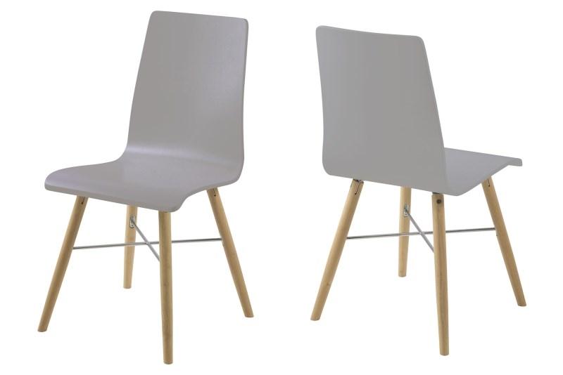 Set 4 scaune din plastic si lemn Milton Grey