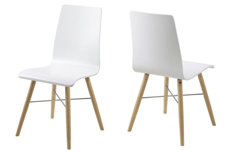 poze cu Set 4 scaune din plastic si lemn Milton White