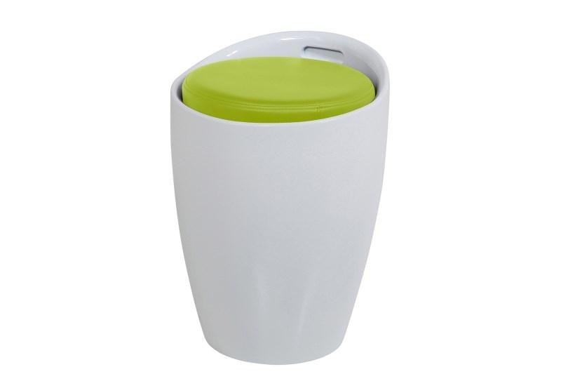 Taburet din plastic si sezut tapitat cu piele ecologica cu spatiu de depozitare Minxie White/Colours O355xH51 cm