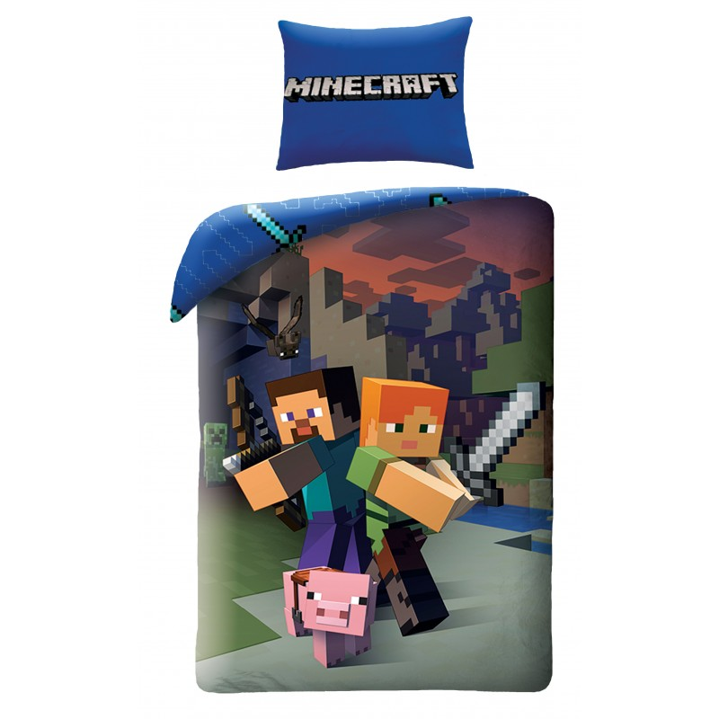 Lenjerie de pat copii Cotton Minecraft MNC020BL