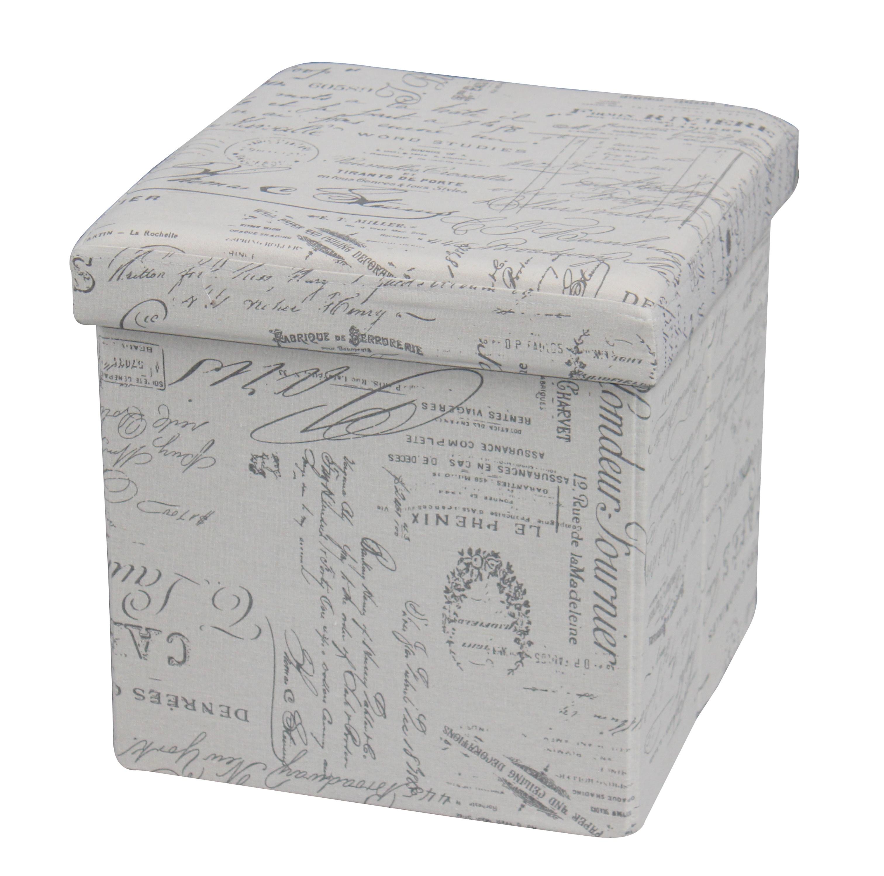 Taburet cu spatiu de depozitare Moly Note Grey l38xA38xH38 cm