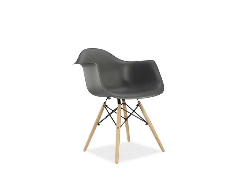 Scaun din plastic si lemn Mondi Gri
