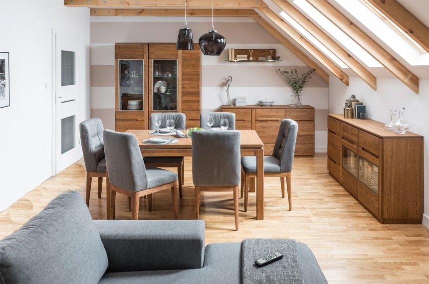 Set de mobila dining din lemn si furnir 6 piese Montenegro Oak