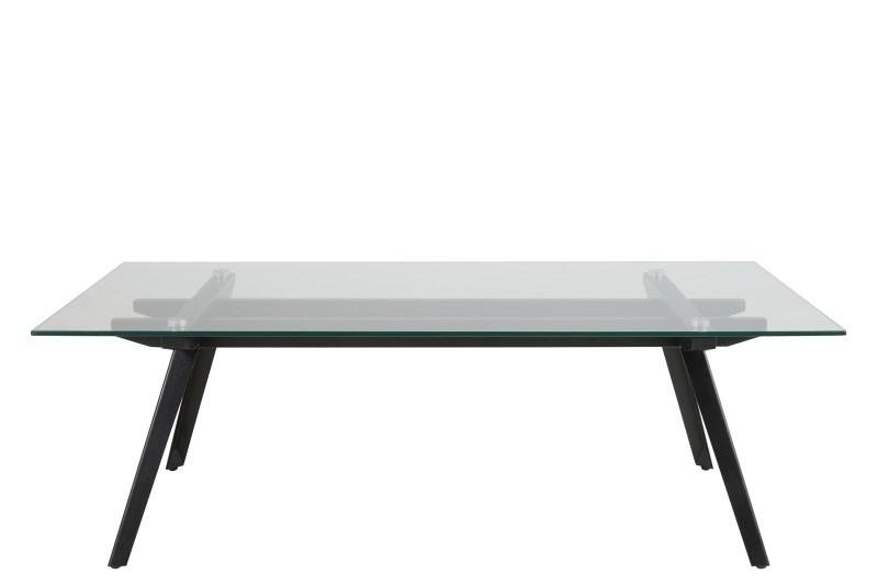 Masa de cafea din metal si sticla Monti Black, L120xl60xh40 cm