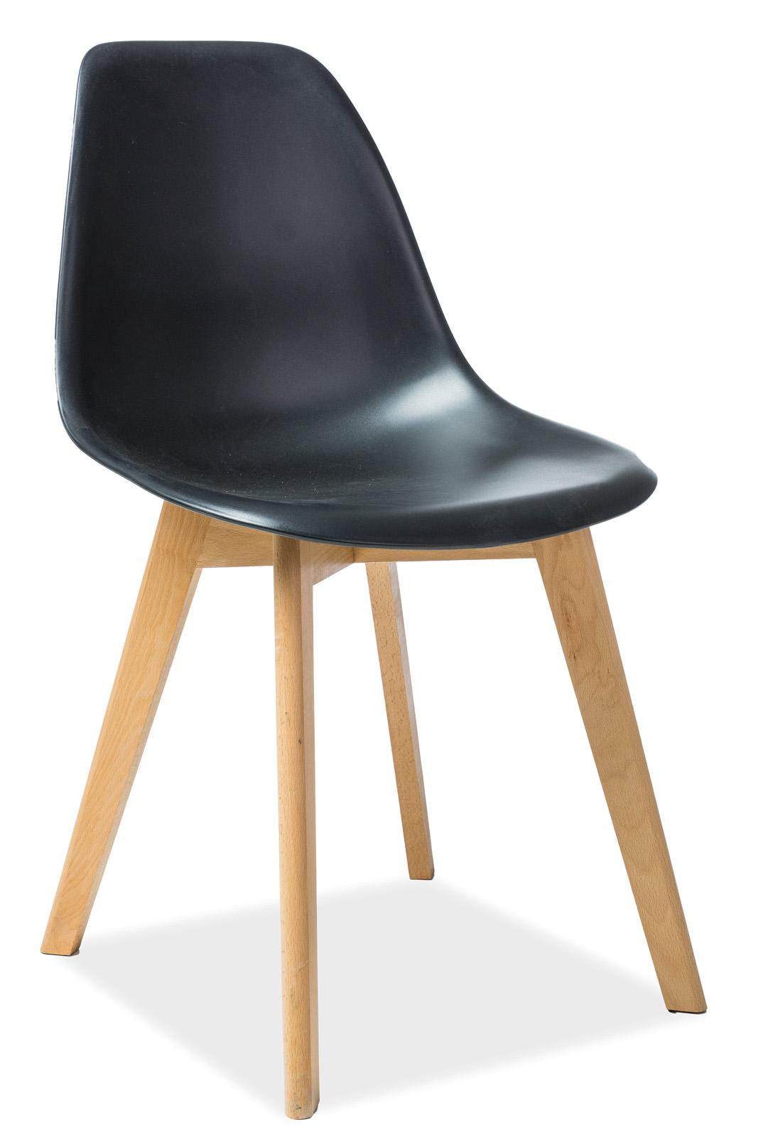 Scaun din plastic si lemn Moris Beech Black
