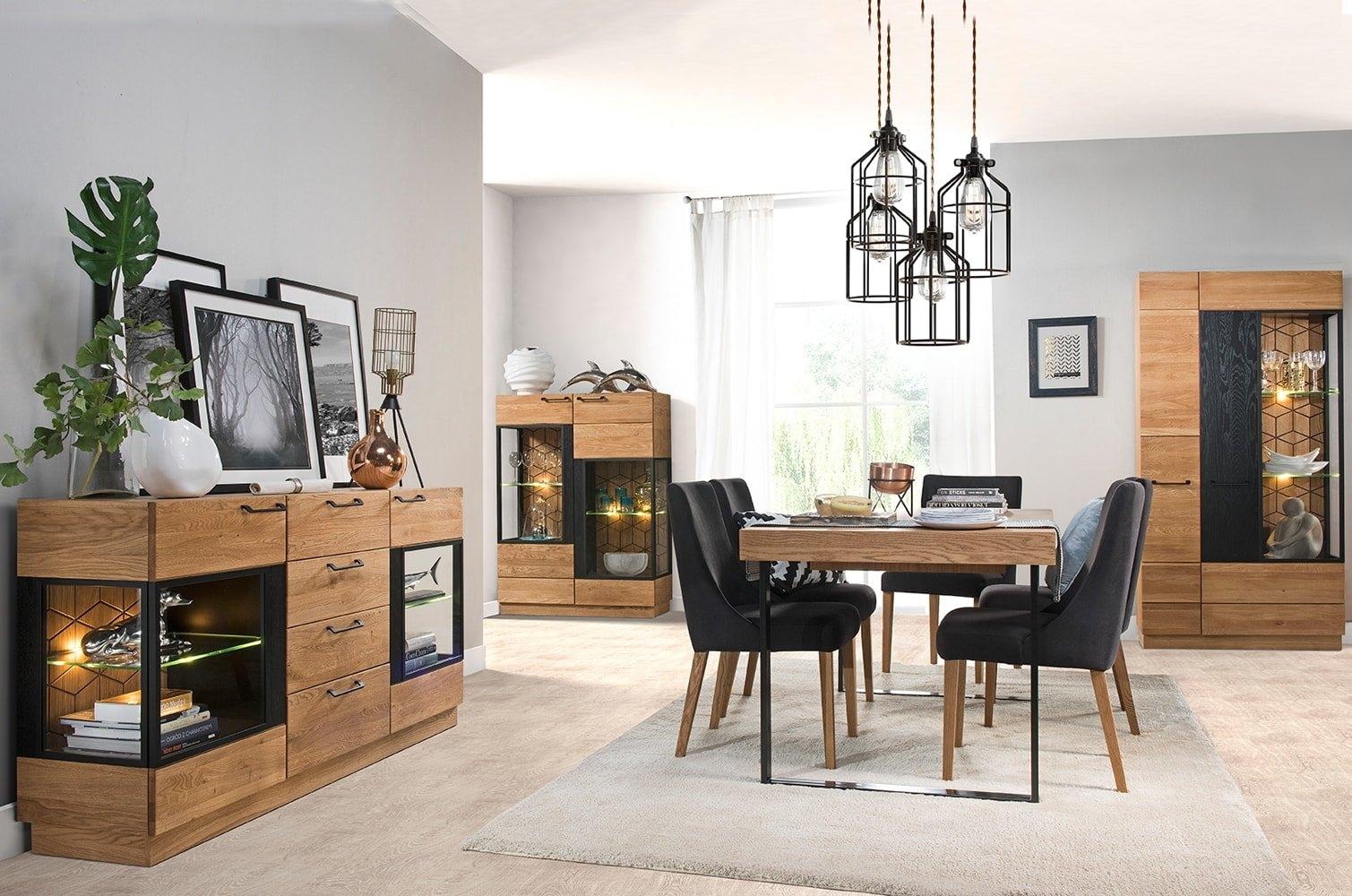 Set de mobila dining din lemn si furnir, 4 piese Mosaic Stejar / Negru imagine