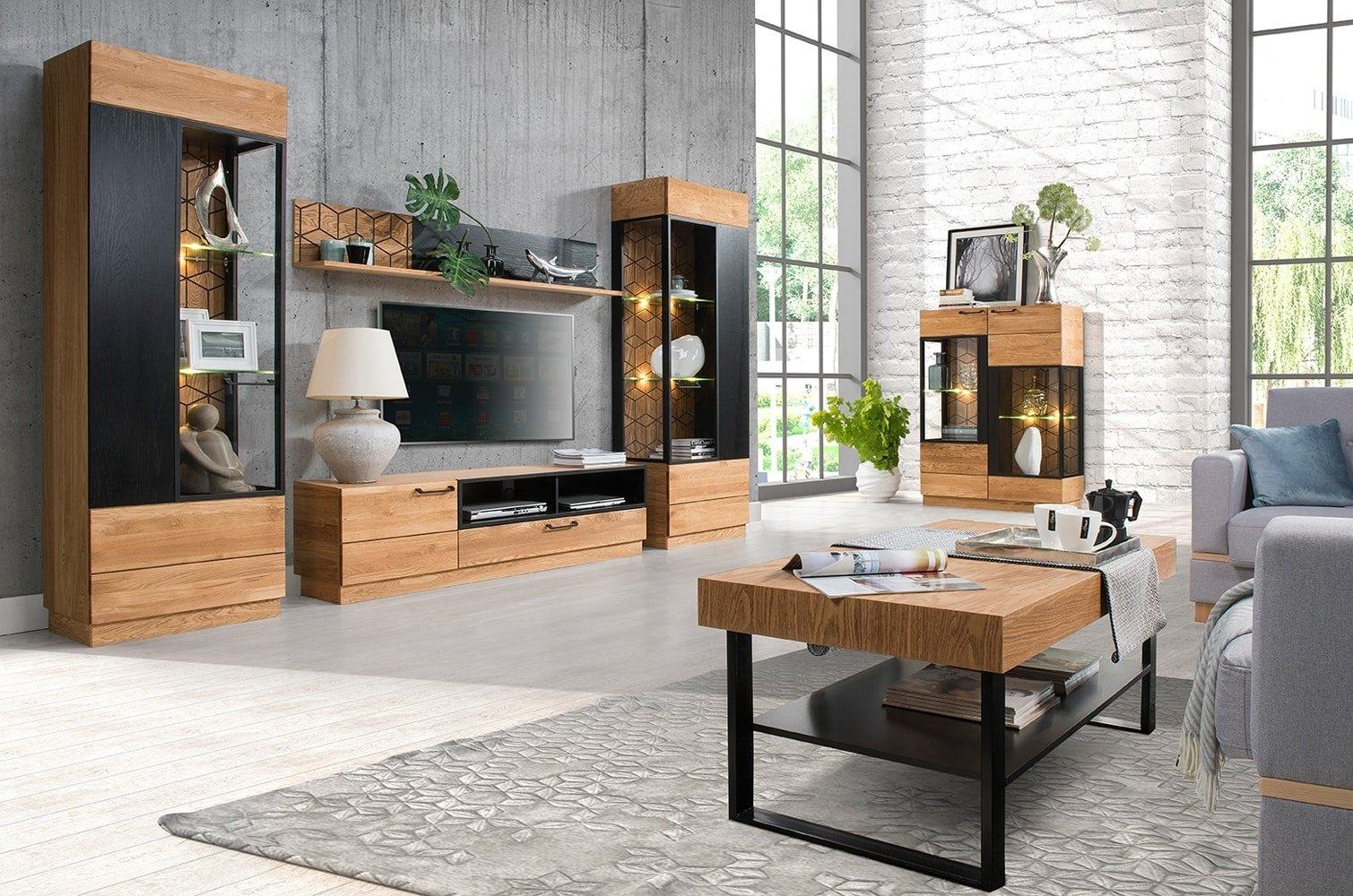 Set de mobila living din lemn si furnir 6 piese Mosaic Oak / Black