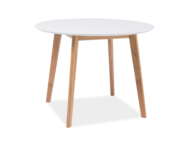 Masa din MDF si furnir Mosso II White, Ø100xh75 cm