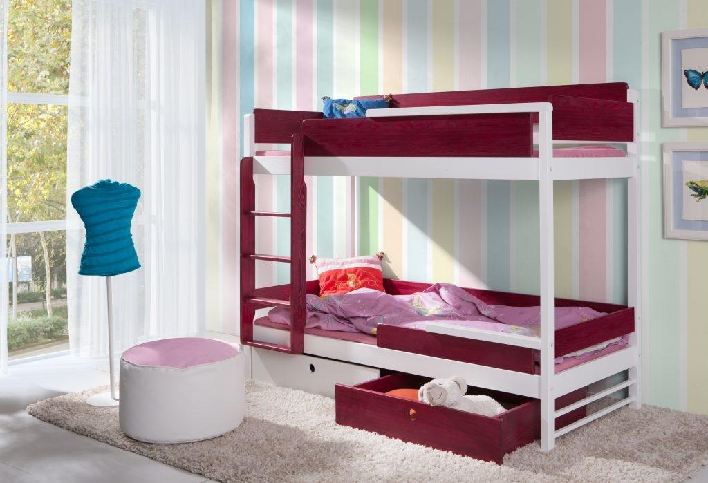 Pat etajat din lemn masiv de pin pentru copii Natu II