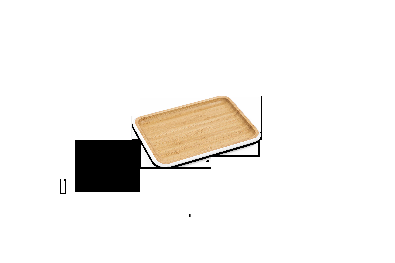 Tava pentru servit, Bambus, White, 22 x 15 cm